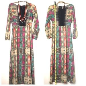 Retro Maxi Dress: Med. Boho, Prairie, Sheer